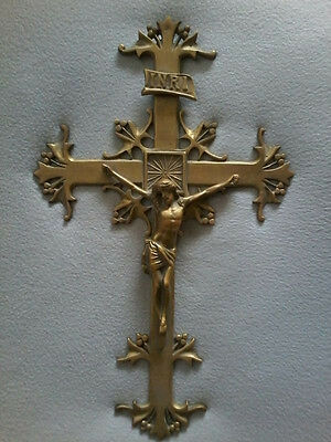 XL ANTIQUE ART NOUVEAU WATERMARK PRIESTS ALTAR WALL CHURCH CRUCIFIX