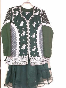 Women's Green and Silver Lengha