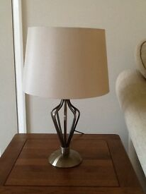 Lamp with Ivory shade on a bronzed metal body