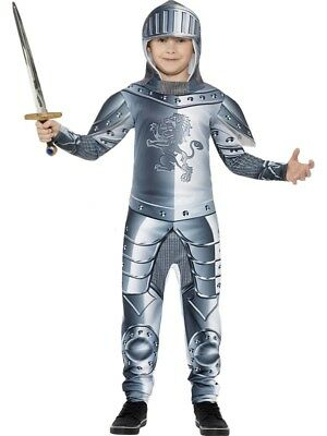 Armoured Knight Costume Boys Crusader Fancy Dress World Book Day Week Outfit (Armored Knight Costume)