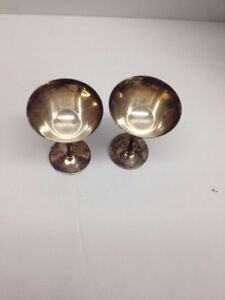 Pair of antique silver goblets