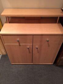 Beech wood desk/cupboard