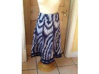 Size 12 navy blue 100% cotton skirt 30inch waist