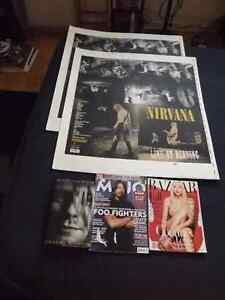 5 NIRVANA/KURT COBAIN COLLECTORS ITEMS:BOOK,2 MAGS,2POSTERBOARDS