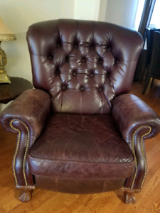 Real Leather Reclining Loveseat