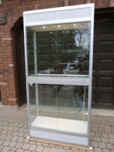 "SCHADEBO LARGE UPRIGHT GLASS SHOW CASE 39.5""W X 80"" T"