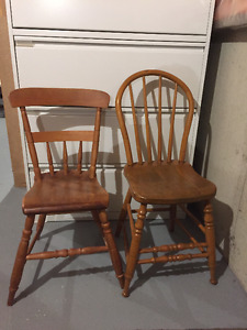 7 antique pine chairs