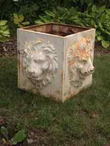 Square Cast Iron Garden Urn Planter with Lions