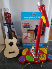 Microphone stand and guitar