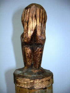 old TRIBAL musical REAL TEETH STRING SKIN carved monkey BAMBOO Kitchener / Waterloo Kitchener Area image 2