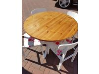 """36"""" Solid Pine Table with 4 Newly Reupholstered Ercol Chairs"""