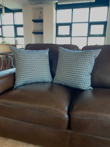 2 Decorative, Down-Filled Throw Pillows for Sale: Blue