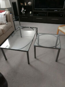 Glass coffee table and three end tables