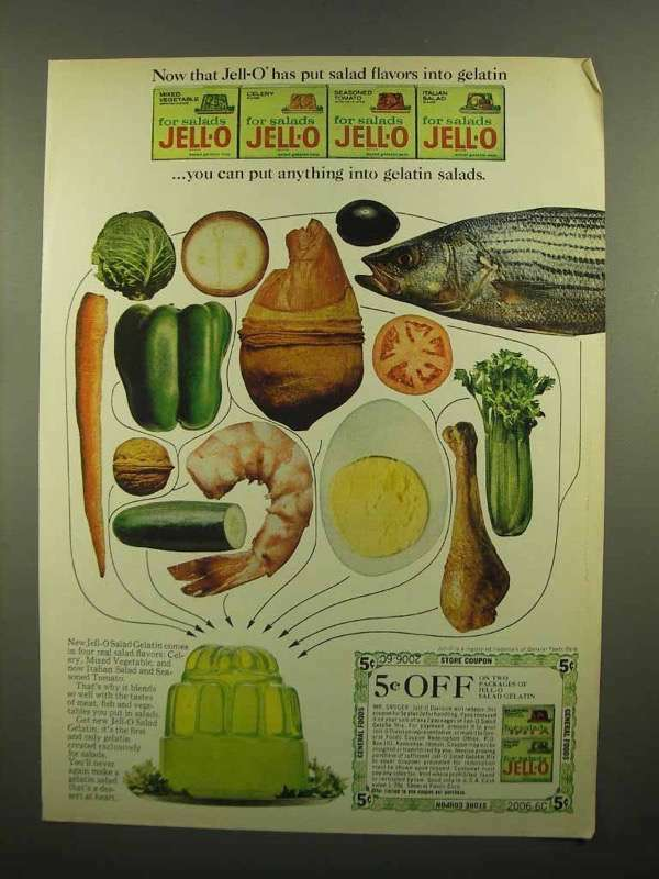 1965 Jell-O for Salads Ad - Anything into Gelatin