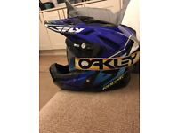 Fly racing helmet and Oakley goggles