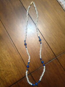 Authentic mother of Pearl and lapis lazuli necklace