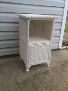 Vintage Wicker Nightstand/Table and Rocking Chair