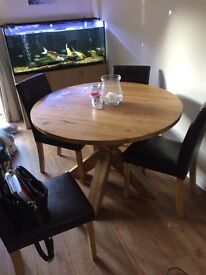 Solid pine table with 4 leather chairs