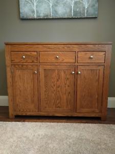 Solid Oak Dining Room Sideboard - $750.00