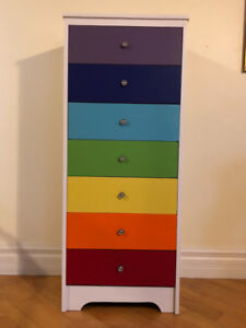 7 Drawer Lingerie Style Dresser in the Rainbow Chakra Colours..