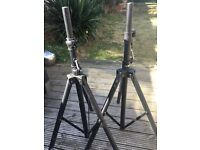 2 Adam Hall Black Powder Coated Speaker Stands. Never used