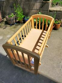 Immaculate John Lewis Wooden Anna Glider Crib With New Mattress