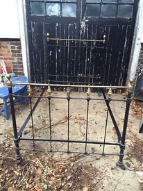 Vintage Cast iron small double bed frame £100