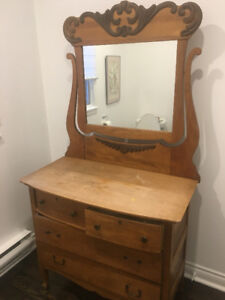 Antique wood bureau dresser with attached mirror from EATON'S!