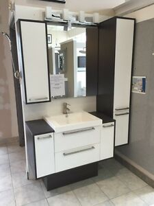 Semi wall hung bathroom cabinet