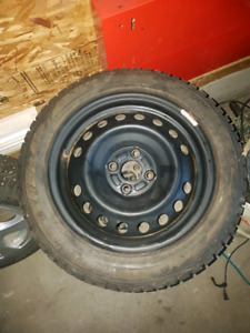 Studded winter ipike tires on winter rims
