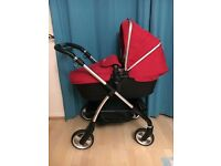 NEW CONDITION Silver cross wayfarer in chilli red pram pushchair and carrycot
