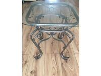 Glass Topped Ornate Cast Iron Side/ Console Table