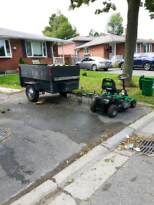 Riding lawn tractor and trailer