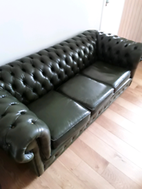 Vintage green Chesterfield 3 seater leather sofa
