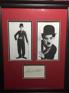 Rare CHARLIE CHAPLIN Signed Tent Card Authenticated Frame