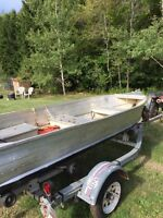 12 Foot aluminum Boat , gas engine , trolling engine , trailer