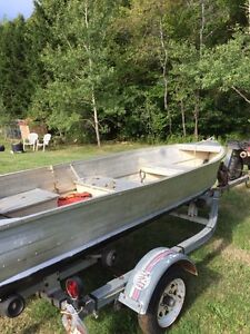 12 Foot aluminum Boat , gas engine , trolling engine , trailer
