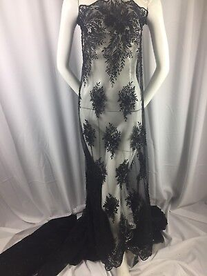 Beaded fabric By The Yard - Embroidered Sequins For Bridal Wedding Dress Black