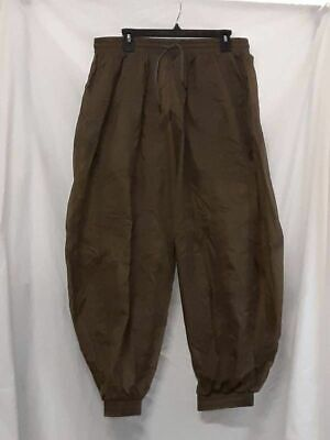 A A Spectrum Mens Parachute Pants Kapok Green Tapered Pleated Drawstring M New