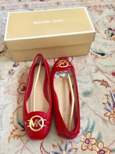 NEW Authentic Red MK size 7.5 Fulton Saffiano Moccasin
