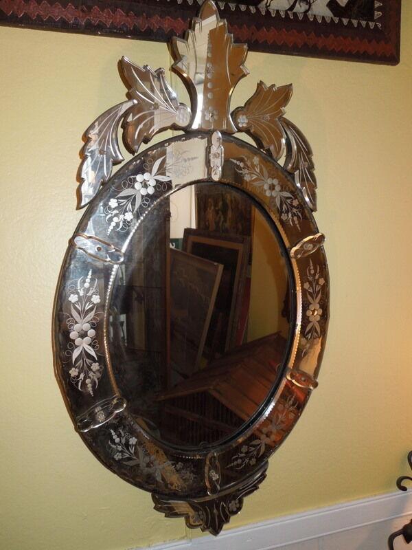 """Antique,19th c Venetian Mirror, 38""""H"""