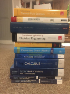 1st and 2nd year engineering textbooks.