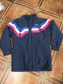 Vintage retro adidas football thick winter shell suit jacket coat
