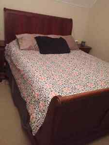 Queen sleigh bed frame and box spring