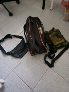 3 bags 1 duffel bag 1 pouch and 1 leather satchels