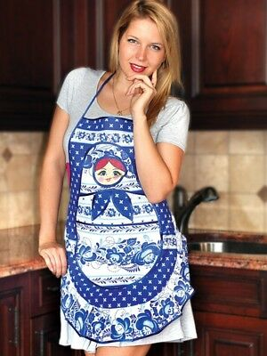Nesting Doll Kitchen Apron 100% Natural Cotton Made Russia Matryoshka Gzhel
