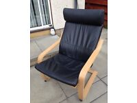 Black leather ikea pong chair