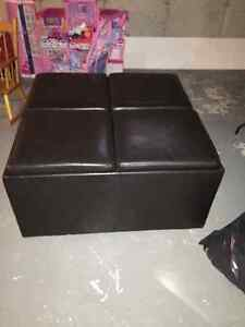 Dark brown leather ottoman
