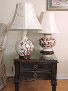 Glass Top End Tables and Table Lamps