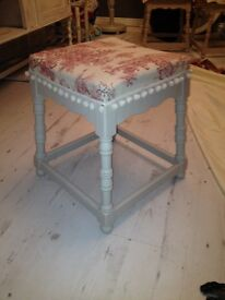 Shabby chic stool Laura Ashley fabric